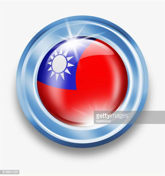Taiwan silver button with taiwanese flag isolated on white