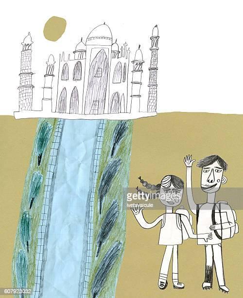 Taj Mahal and tourists collage