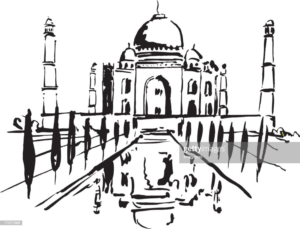 taj mahal b&w : stock illustration