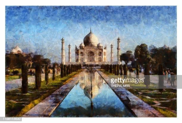 ilustrações, clipart, desenhos animados e ícones de taj mahal-manipulação digital da foto - taj mahal