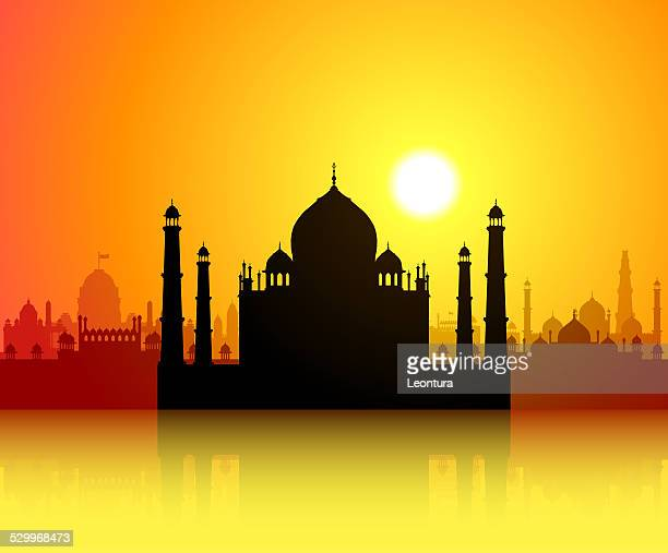 taj mahal - agra jama masjid mosque stock illustrations