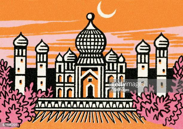 taj mahal - place of worship stock illustrations