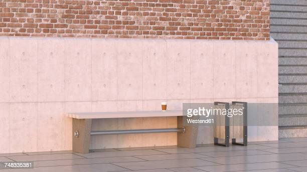 takeaway coffee on bench next to waste bin, 3d rendering - next stock illustrations