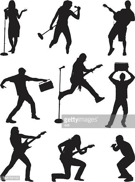 talented musicians performing - microphone stand stock illustrations