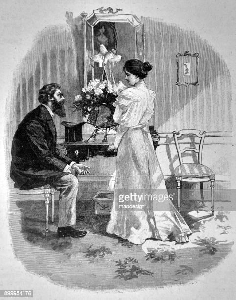 Talking in living room - 1896