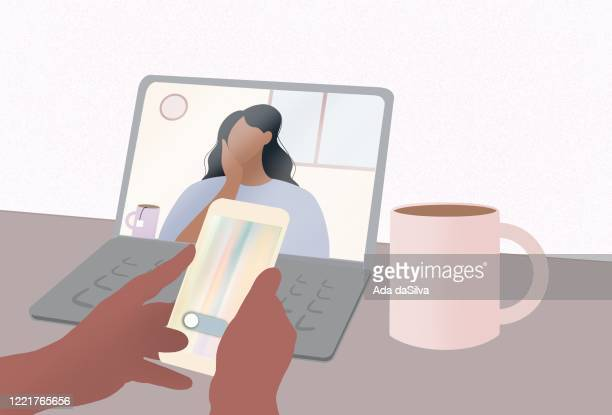 talking with friend and searching at phone. conference video call. computer screen. working from home. home schooling at computer. - female friendship stock illustrations