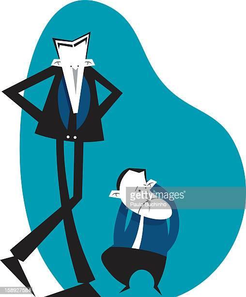 ilustrações de stock, clip art, desenhos animados e ícones de a tall man and a short man standing beside one another - buchinho