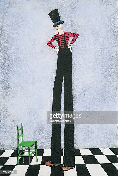 tall man looking down at a chair - tall high stock illustrations