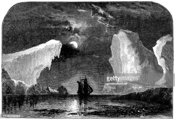 tall ship amongst the icebergs under the moonlight in newfoundland, canada - 19th century - powerofforever stock illustrations