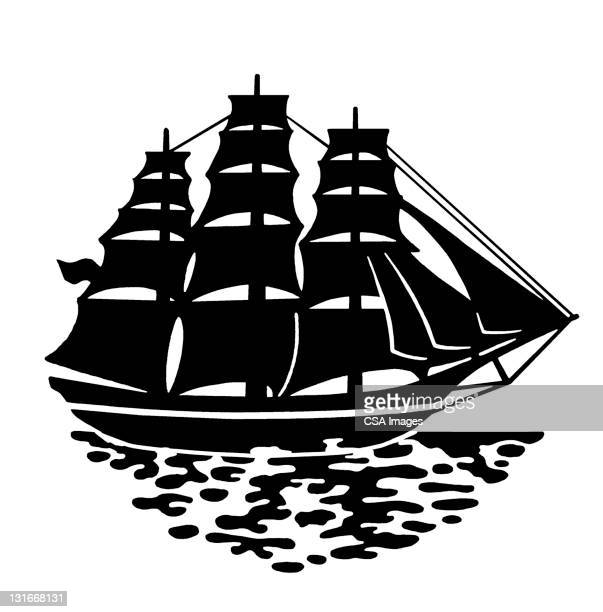 tall ship - pirate boat stock illustrations, clip art, cartoons, & icons
