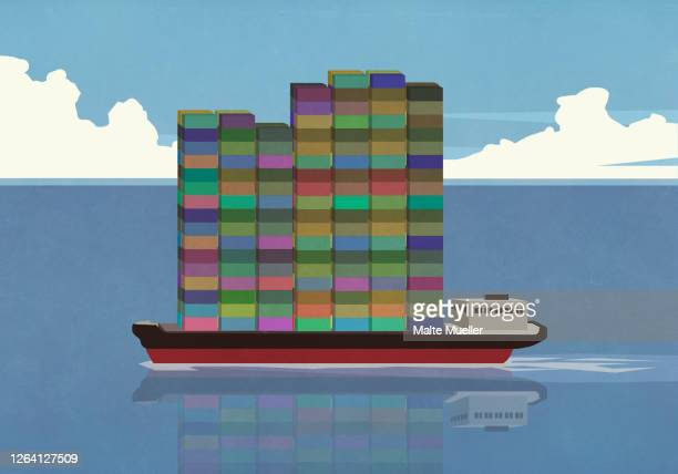 tall stack of cargo containers on container ship in ocean - nautical vessel stock illustrations