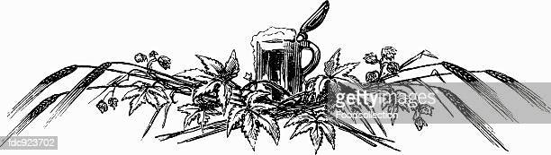 tankard with hops and ears of corn (illustration) - zea stock illustrations, clip art, cartoons, & icons