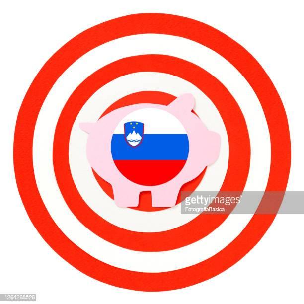 対象スロベニア貯金箱 - スロベニア国旗点のイラスト素材/クリップアート素材/マンガ素材/アイコン素材