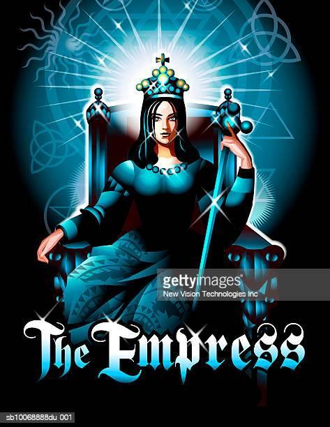 tarot empress representation - empress stock illustrations, clip art, cartoons, & icons