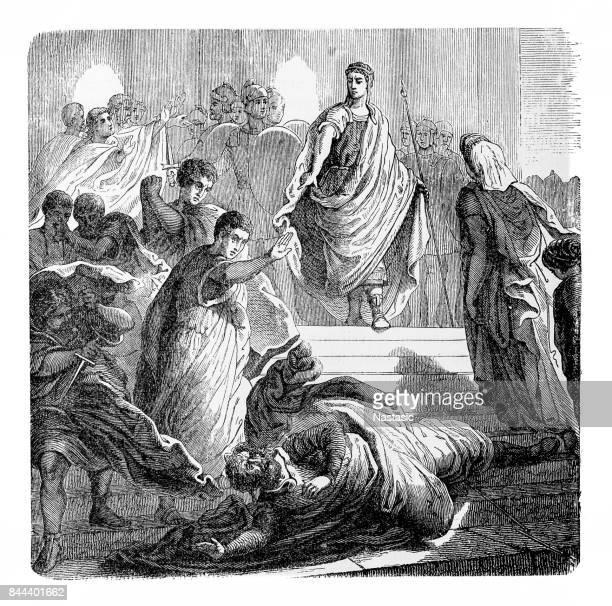 tarquin throws himself upon servius tullius - etruscan stock illustrations