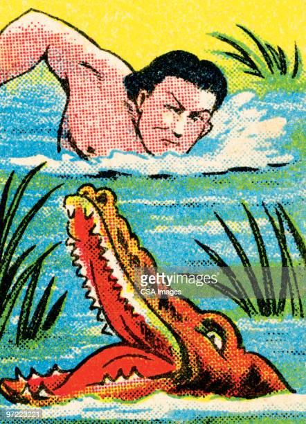 tarzan and alligator - florida gators stock illustrations