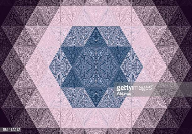 bildbanksillustrationer, clip art samt tecknat material och ikoner med hexagram six-pointed star of david in fractal image - davidsstjärna