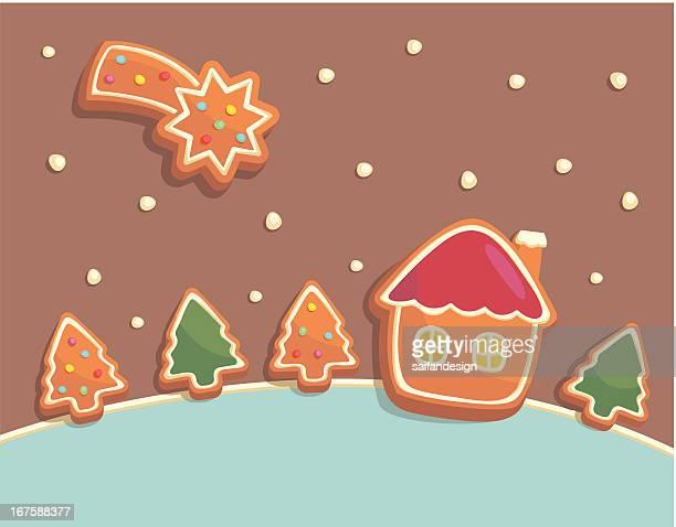 tasty landscape - gingerbread house stock illustrations, clip art, cartoons, & icons