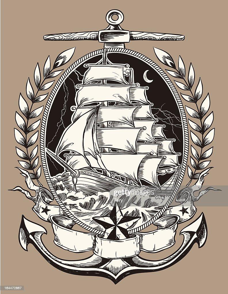 Tatouage Style Bateau Pirate A Ecusson Illustration Getty Images