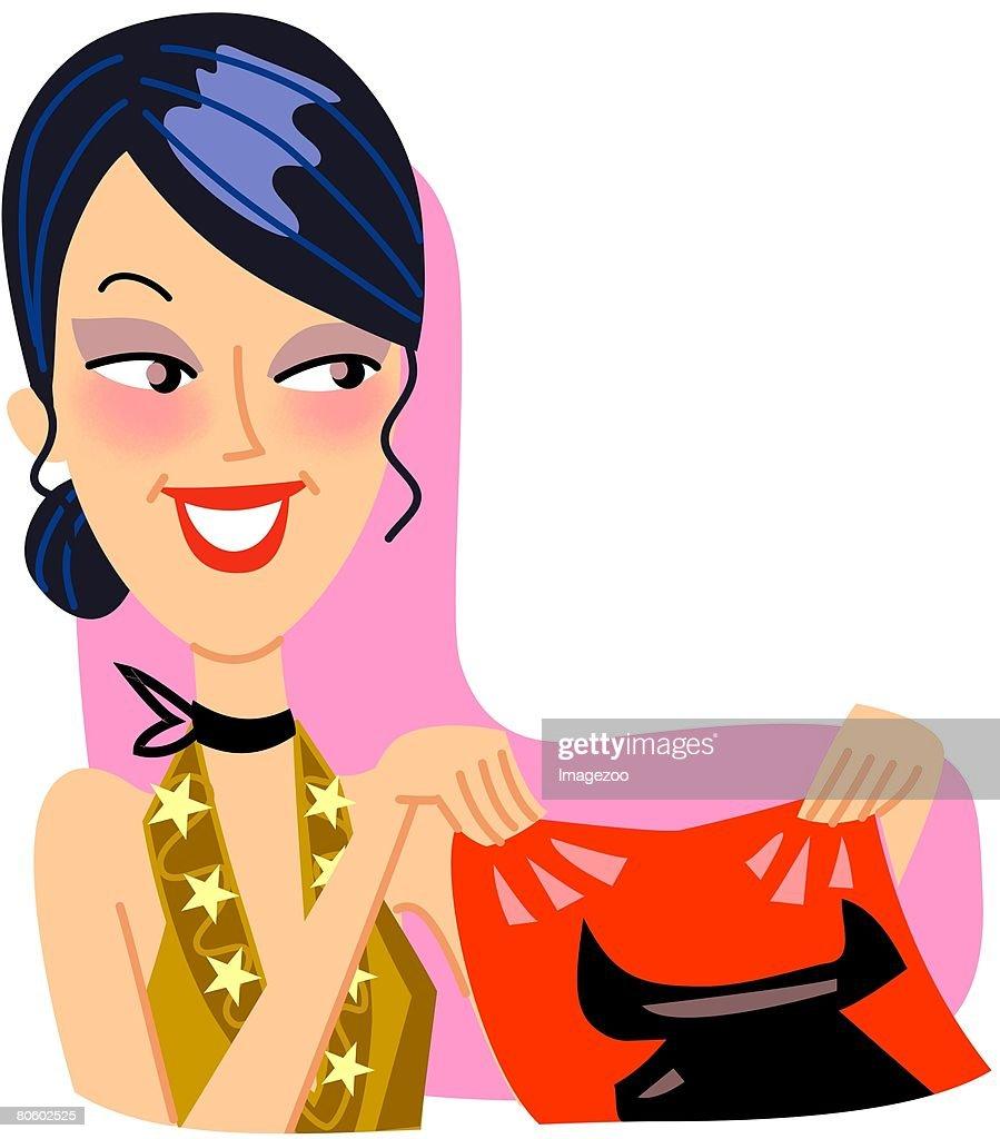 A Taurus woman smiling, holding a handkerchief : stock illustration