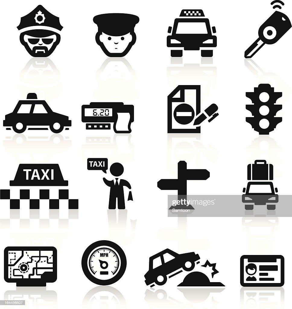 Taxi Business icons set Elegant series