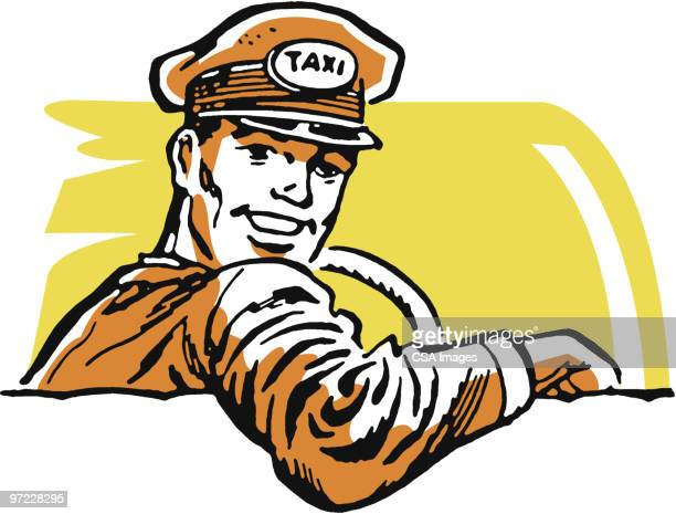 ilustraciones, imágenes clip art, dibujos animados e iconos de stock de taxi driver - taxista