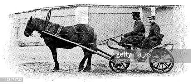 ilustraciones, imágenes clip art, dibujos animados e iconos de stock de taxicab droshky carro de caballos en san petersburgo, rusia - imperio ruso siglo xix - taxista