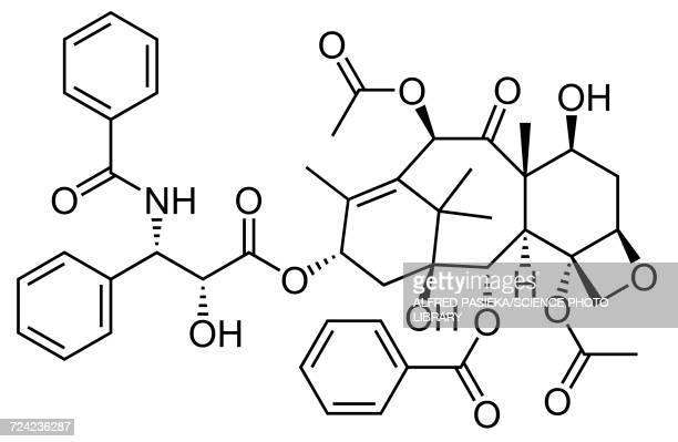 taxol drug molecule, skeletal formula - 化学式点のイラスト素材/クリップアート素材/マンガ素材/アイコン素材