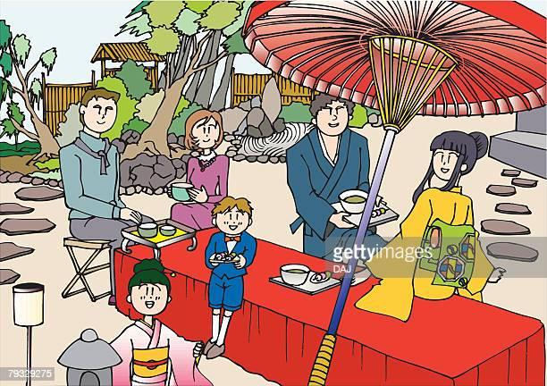 tea house, illustrative technique - japanese mom stock illustrations, clip art, cartoons, & icons