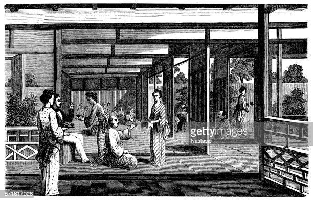 tea house in japan - antique stock illustrations, clip art, cartoons, & icons