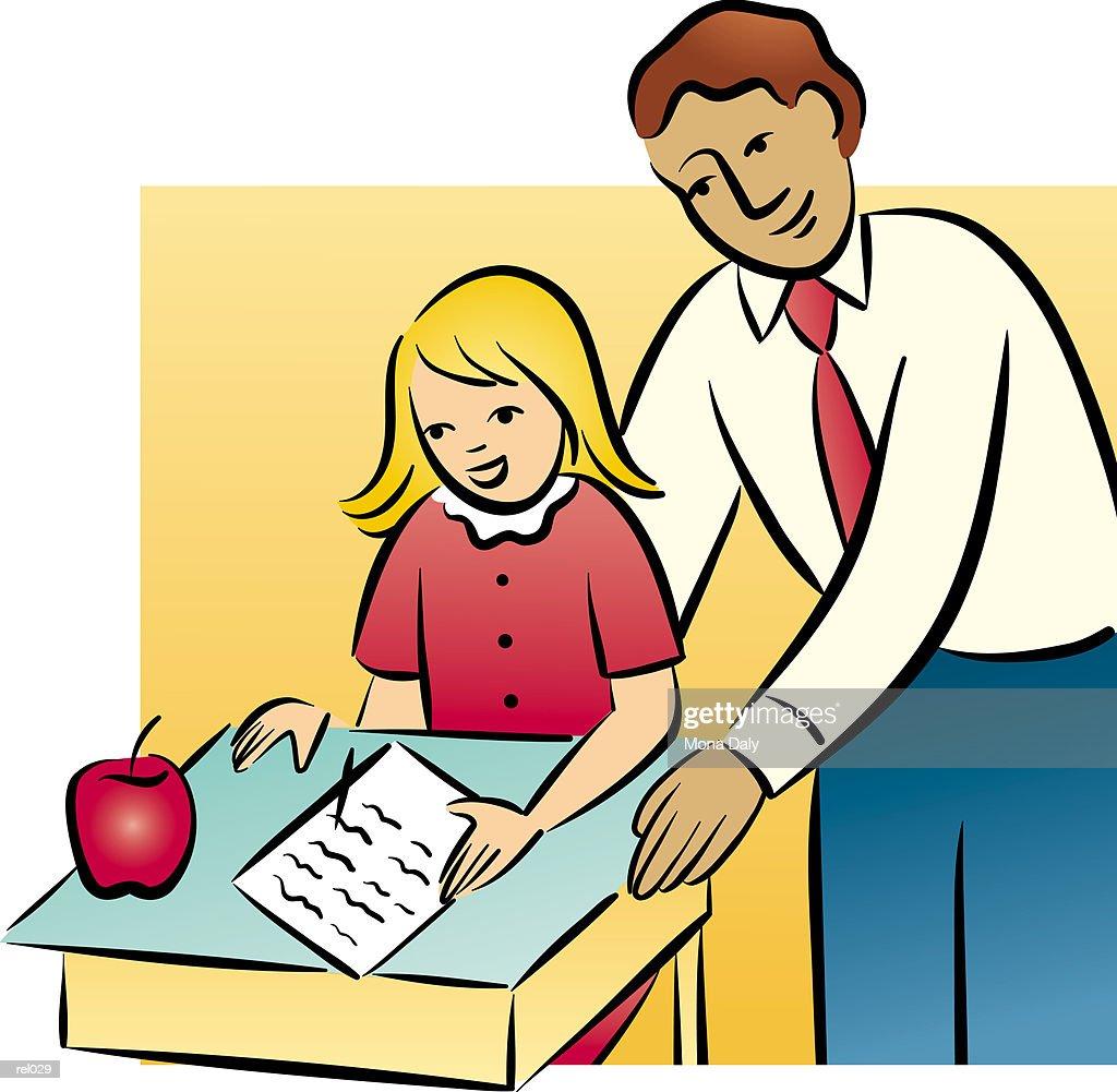 Teacher & Student : Ilustração de stock