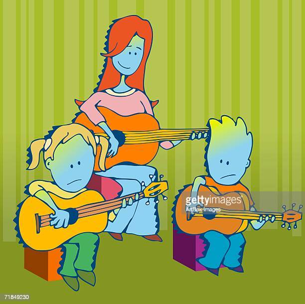 teacher teaching her students the guitar - 8 9 years stock illustrations, clip art, cartoons, & icons
