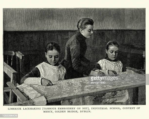 teacher teaching lacemaking to girls, 19th century - lace textile stock illustrations