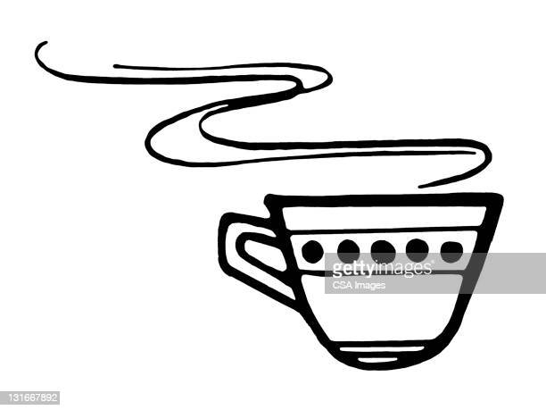 tea/coffee cup steaming - steam stock illustrations