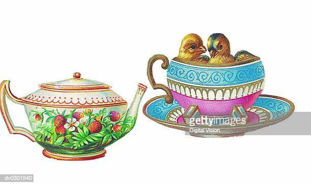teacup and teapot - saucer stock illustrations
