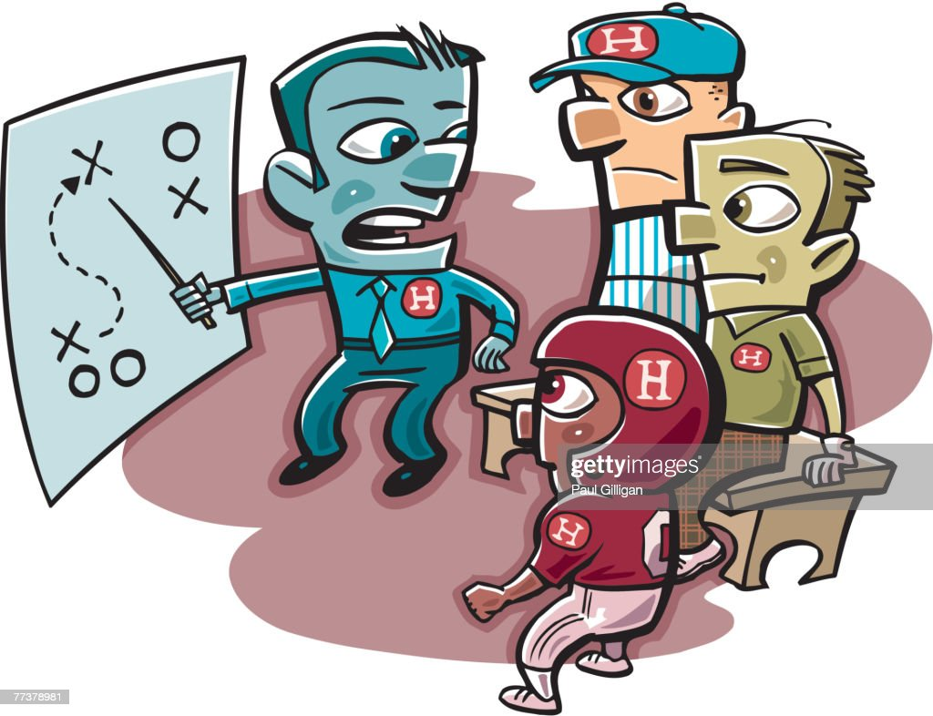 Team owner coaching football players and coaches : Illustration