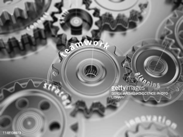 teamwork gear wheels, illustration - gearstick stock illustrations