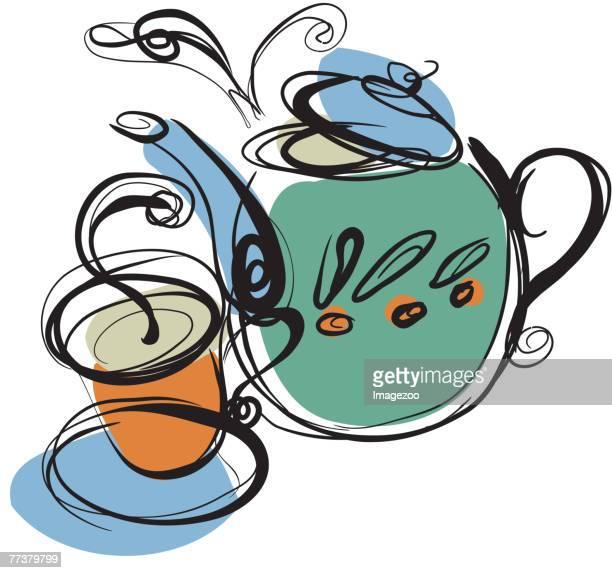 teapot and hot tea - steeping stock illustrations, clip art, cartoons, & icons