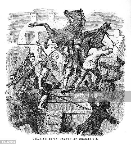 tearing down the statue of king george iii 1859 - declaration of independence stock illustrations