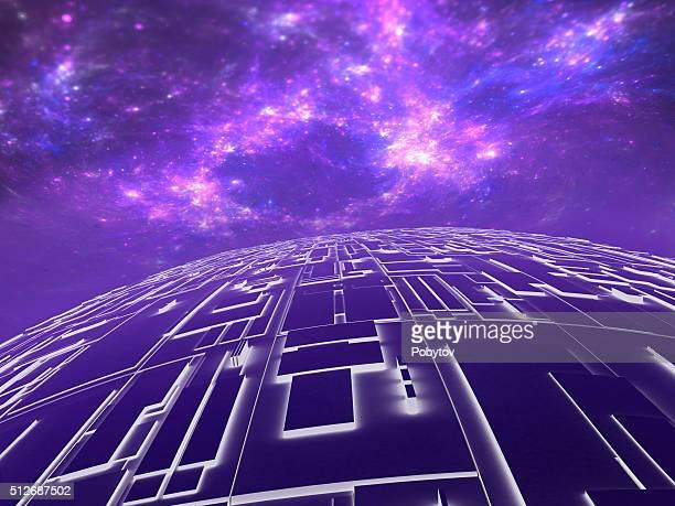 illustrazioni stock, clip art, cartoni animati e icone di tendenza di techno pianeta, sfondo futuristico - hud interfaccia grafica utente