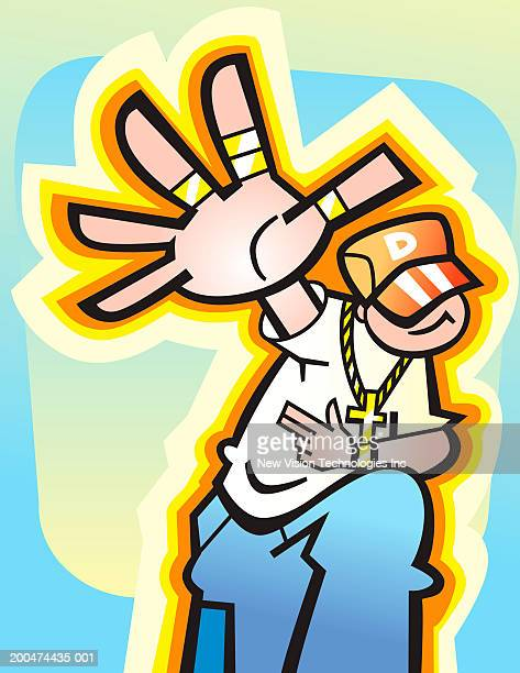 teenage boy dancing, arm outstretched - bling bling stock illustrations, clip art, cartoons, & icons