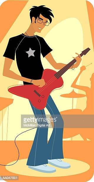 teenage boy playing electric guitar - music style stock illustrations, clip art, cartoons, & icons