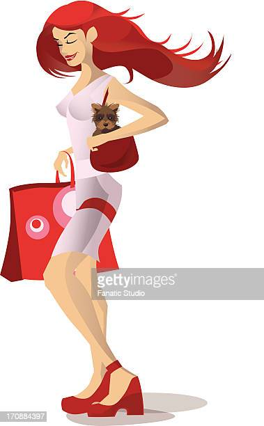 teenage girl carrying a cat in her purse - hair color stock illustrations, clip art, cartoons, & icons