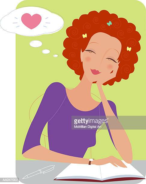 teenage girl daydreaming while studying - one teenage girl only stock illustrations