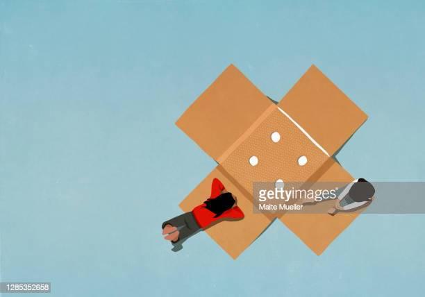 illustrazioni stock, clip art, cartoni animati e icone di tendenza di teenage girls relaxing on large adhesive bandage - amicizia