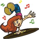 Teenage Hip Hop Girl Dancing to Music