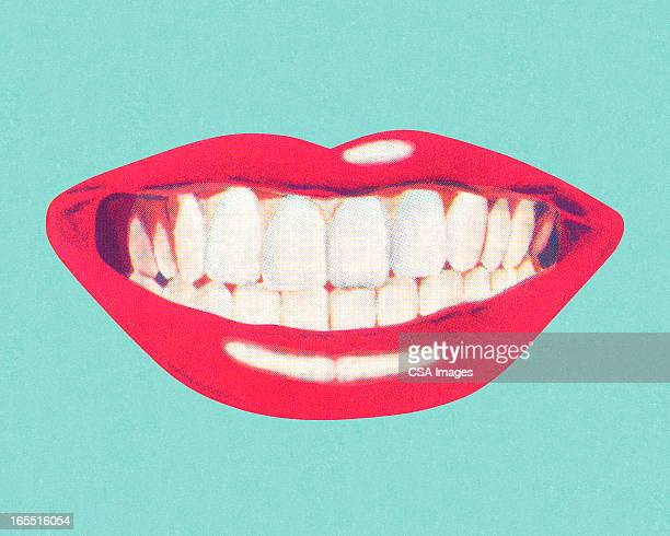 teeth and lips - mouth stock illustrations, clip art, cartoons, & icons