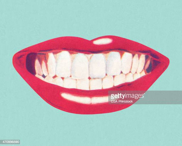 teeth and lips - pop art stock illustrations