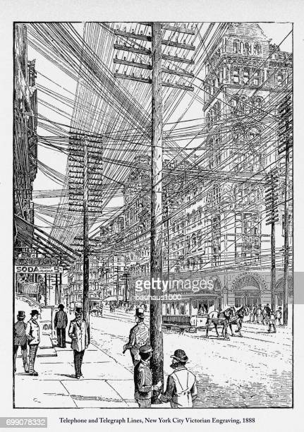 Telephone and Telegraph Lines, New York City Victorian Engraving, 1888