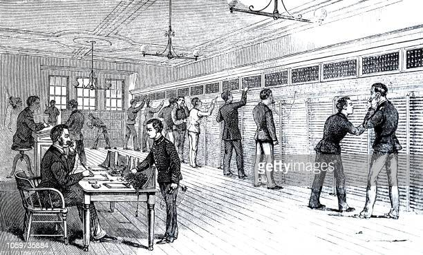 telephone office of the stock exchange in new york - industrial revolution stock illustrations